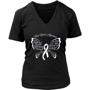 White Ribbon Butterfly Lung Cancer Awareness Cool Gift VNeck TShirt-T-shirt-District Womens V-Neck-Black-JoyHip.Com