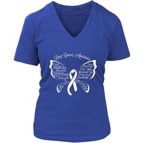 White Ribbon Butterfly Lung Cancer Awareness Cool Gift VNeck TShirt-T-shirt-District Womens V-Neck-Royal Blue-JoyHip.Com