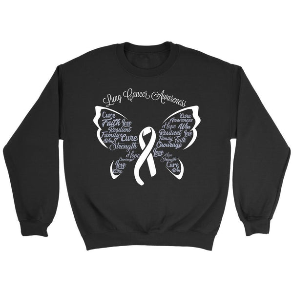 White Ribbon Butterfly Lung Cancer Awareness Gift Ideas Sweater-T-shirt-Crewneck Sweatshirt-Black-JoyHip.Com
