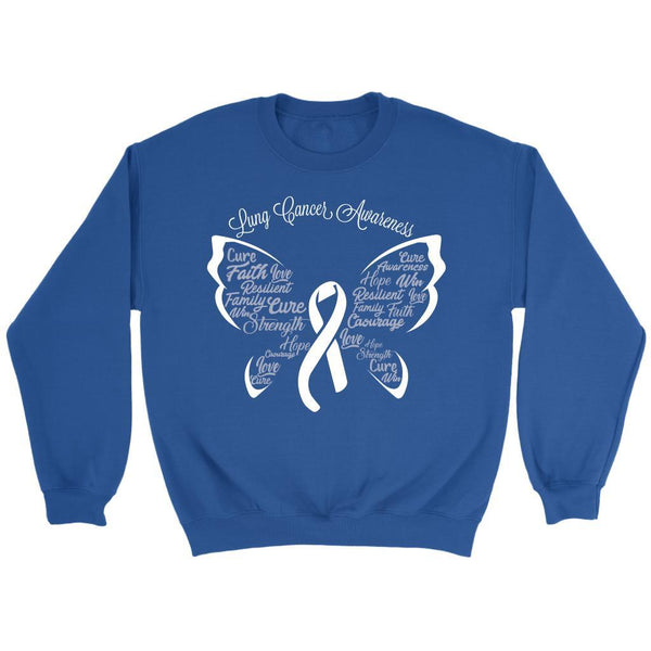 White Ribbon Butterfly Lung Cancer Awareness Gift Ideas Sweater-T-shirt-Crewneck Sweatshirt-Royal Blue-JoyHip.Com