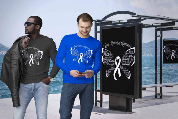 White Ribbon Butterfly Lung Cancer Awareness Gift Ideas Sweater-T-shirt-JoyHip.Com