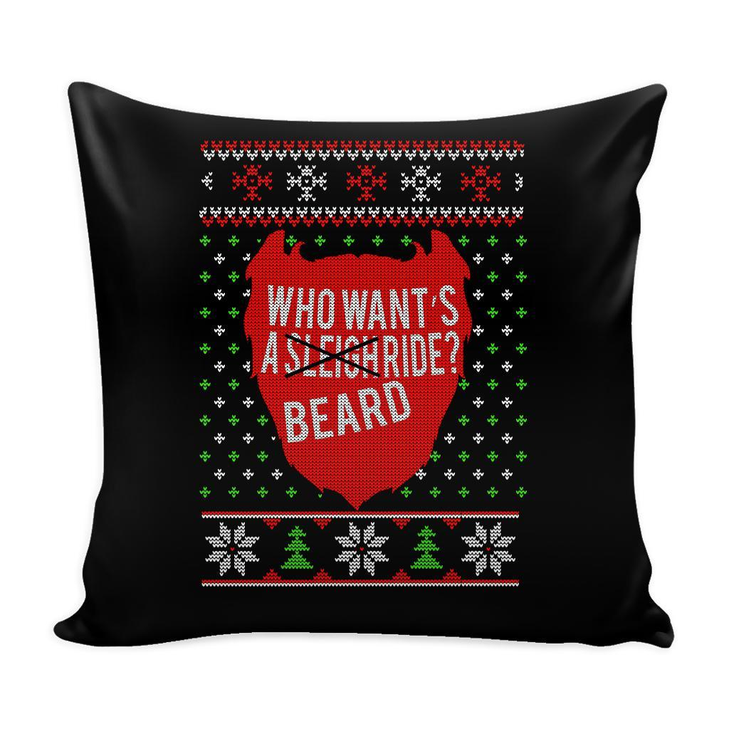 Who Want's A Beard Ride? Festive Funny Ugly Christmas Holiday Sweater Decorative Throw Pillow Cases Cover(4 Colors)-Pillows-Black-JoyHip.Com