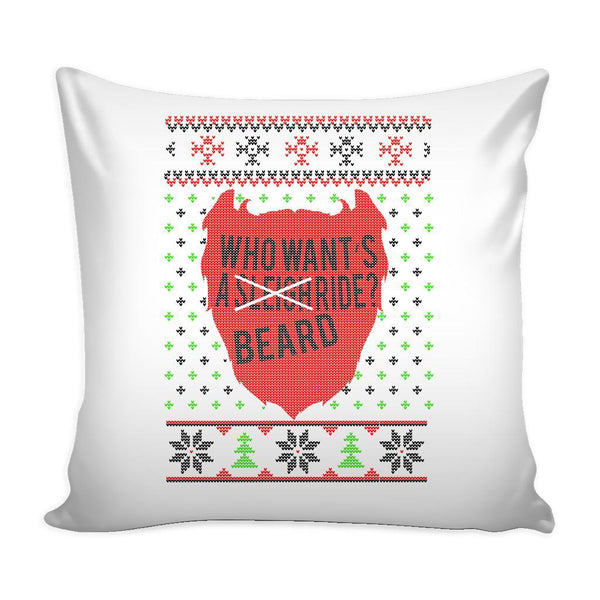 Who Want's A Beard Ride? Festive Funny Ugly Christmas Holiday Sweater Decorative Throw Pillow Cases Cover(4 Colors)-Pillows-White-JoyHip.Com