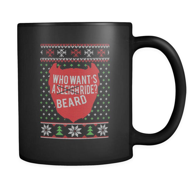 Who Want's A Beard Ride? Ugly Christmas Sweater Black 11oz Coffee Mug-Drinkware-Ugly Christmas Sweater Black 11oz Coffee Mug-JoyHip.Com