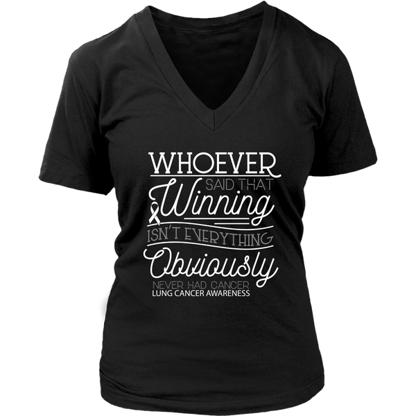 Whoever Said Winning Isnt Everything Obviously Never Had Lung VNeck TShirt-T-shirt-District Womens V-Neck-Black-JoyHip.Com