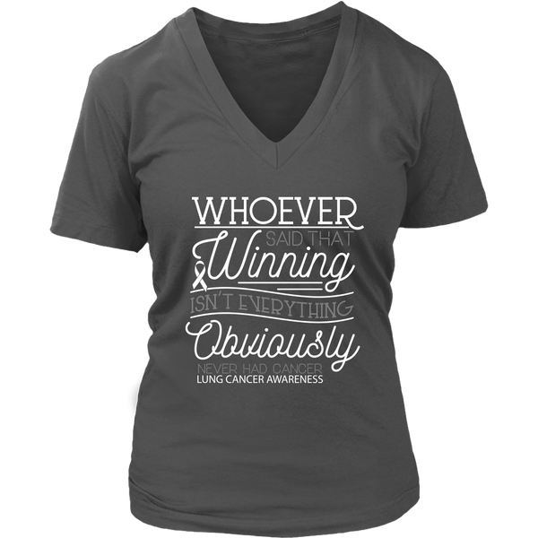 Whoever Said Winning Isnt Everything Obviously Never Had Lung VNeck TShirt-T-shirt-District Womens V-Neck-Grey-JoyHip.Com