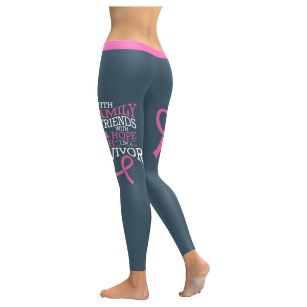 With Family Friend Hope Faith Breast Cancer Survivor Pink Ribbon Womens Leggings-JoyHip.Com