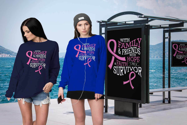 With Family & Friends Hope Faith I Am A Survivor Breast Cancer Awareness Sweater-T-shirt-JoyHip.Com