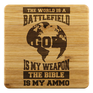World Battlefield God Is My Weapon Bible Ammo Funny Drink Coasters Set Christian-Coasters-Bamboo Coaster - 4pc-JoyHip.Com