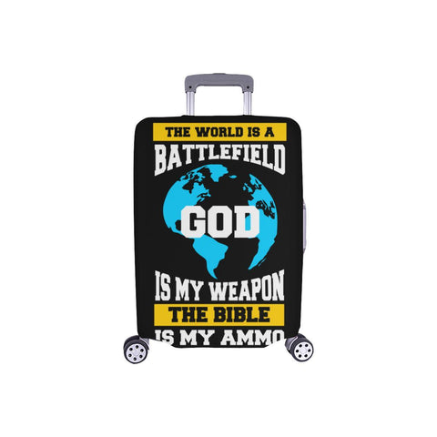World Is Battlefield God My Weapon Bible Ammo Christian Travel Luggage Cover-S-Black-JoyHip.Com