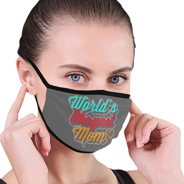 World's Okayest Mom Mothers Day Washable Reusable Face Mask With Filter Pocket-Face Mask-JoyHip.Com