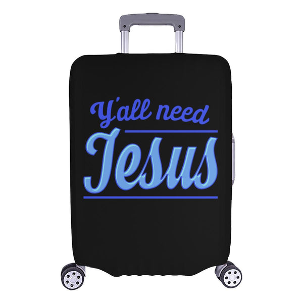 "Y'all Need Jesus Christian Travel Luggage Cover Suitcase Protector Fits 18""-28""-L-Black-JoyHip.Com"