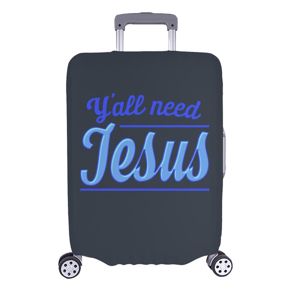 "Y'all Need Jesus Christian Travel Luggage Cover Suitcase Protector Fits 18""-28""-L-Grey-JoyHip.Com"