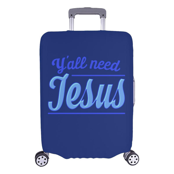 "Y'all Need Jesus Christian Travel Luggage Cover Suitcase Protector Fits 18""-28""-L-Navy-JoyHip.Com"