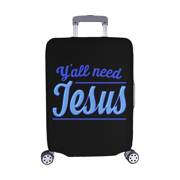 "Y'all Need Jesus Christian Travel Luggage Cover Suitcase Protector Fits 18""-28""-M-Black-JoyHip.Com"