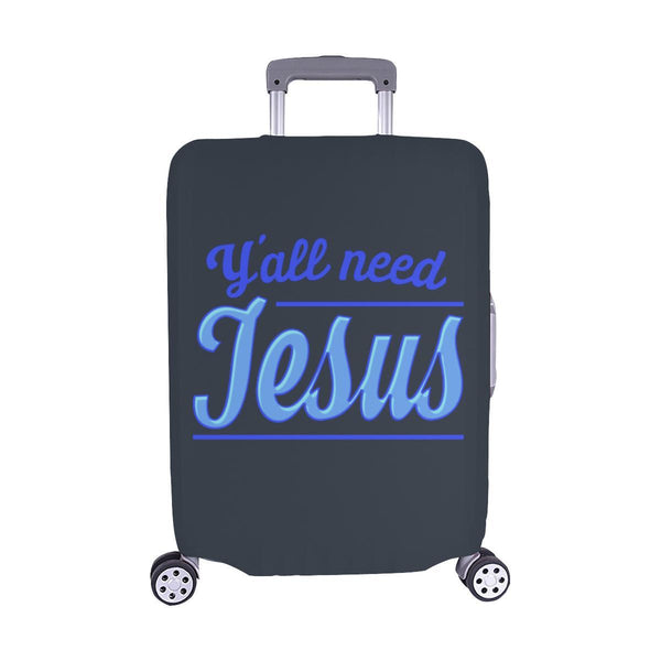 "Y'all Need Jesus Christian Travel Luggage Cover Suitcase Protector Fits 18""-28""-M-Grey-JoyHip.Com"