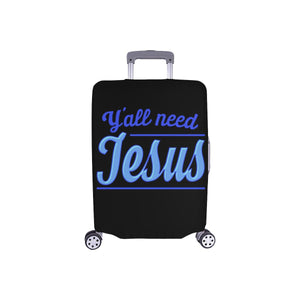 "Y'all Need Jesus Christian Travel Luggage Cover Suitcase Protector Fits 18""-28""-S-Black-JoyHip.Com"