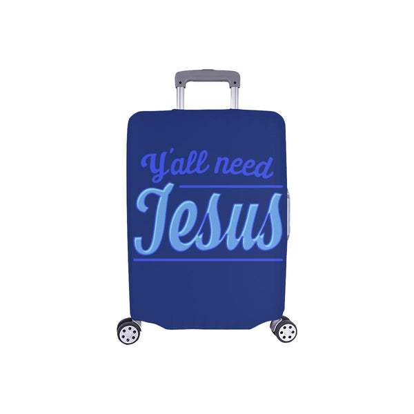 "Y'all Need Jesus Christian Travel Luggage Cover Suitcase Protector Fits 18""-28""-S-Navy-JoyHip.Com"