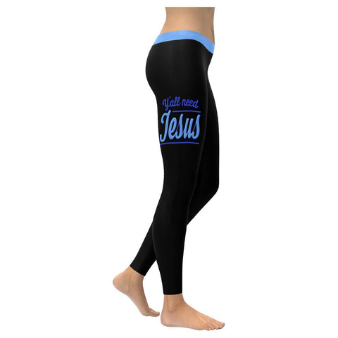 Y'all Need Jesus Soft Legging For Women Cool Cute Funny Christian Gift Religious-XXS-Black-JoyHip.Com