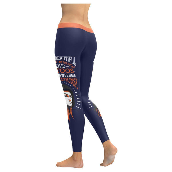 Yes Im Beautiful I Ride Motorcycle Love Tattoos & Im Awesome Womens Leggings-JoyHip.Com