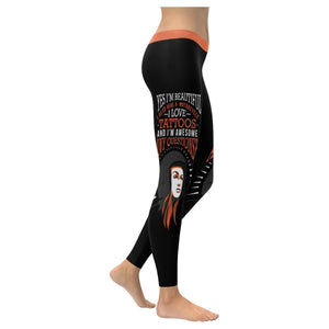 Yes Im Beautiful I Ride Motorcycle Love Tattoos & Im Awesome Womens Leggings-XXS-Black-JoyHip.Com
