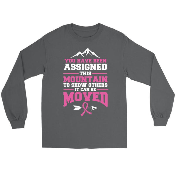 You Been Assigned This Mountain Show Others It Can Be Moved Cancer Long Sleeve-T-shirt-Gildan Long Sleeve Tee-Grey-JoyHip.Com