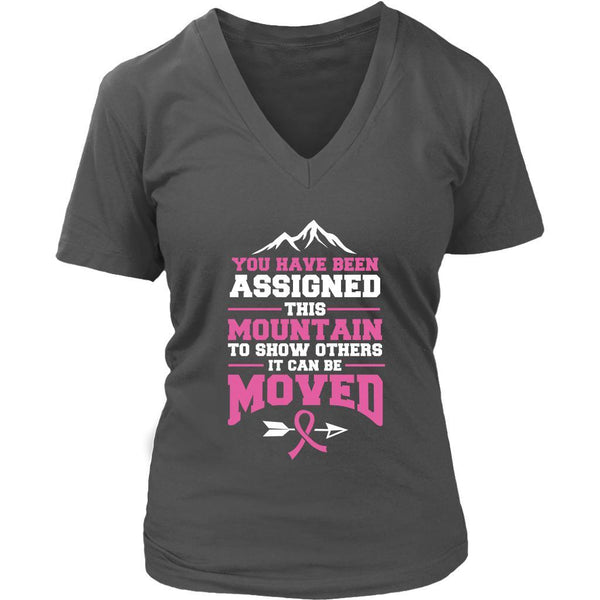 You Been Assigned This Mountain Show Others It Can Be Moved Cancer VNeck TShirt-T-shirt-District Womens V-Neck-Grey-JoyHip.Com