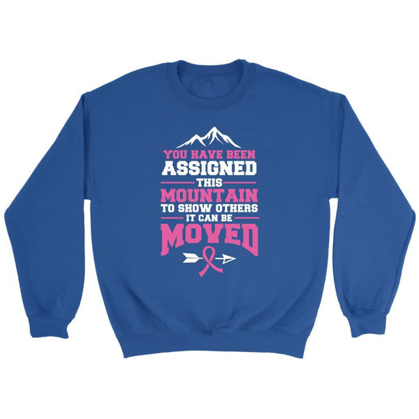You Been Assigned This Mountain To Show Others It Can Be Moved Cancer Sweater-T-shirt-Crewneck Sweatshirt-Royal Blue-JoyHip.Com