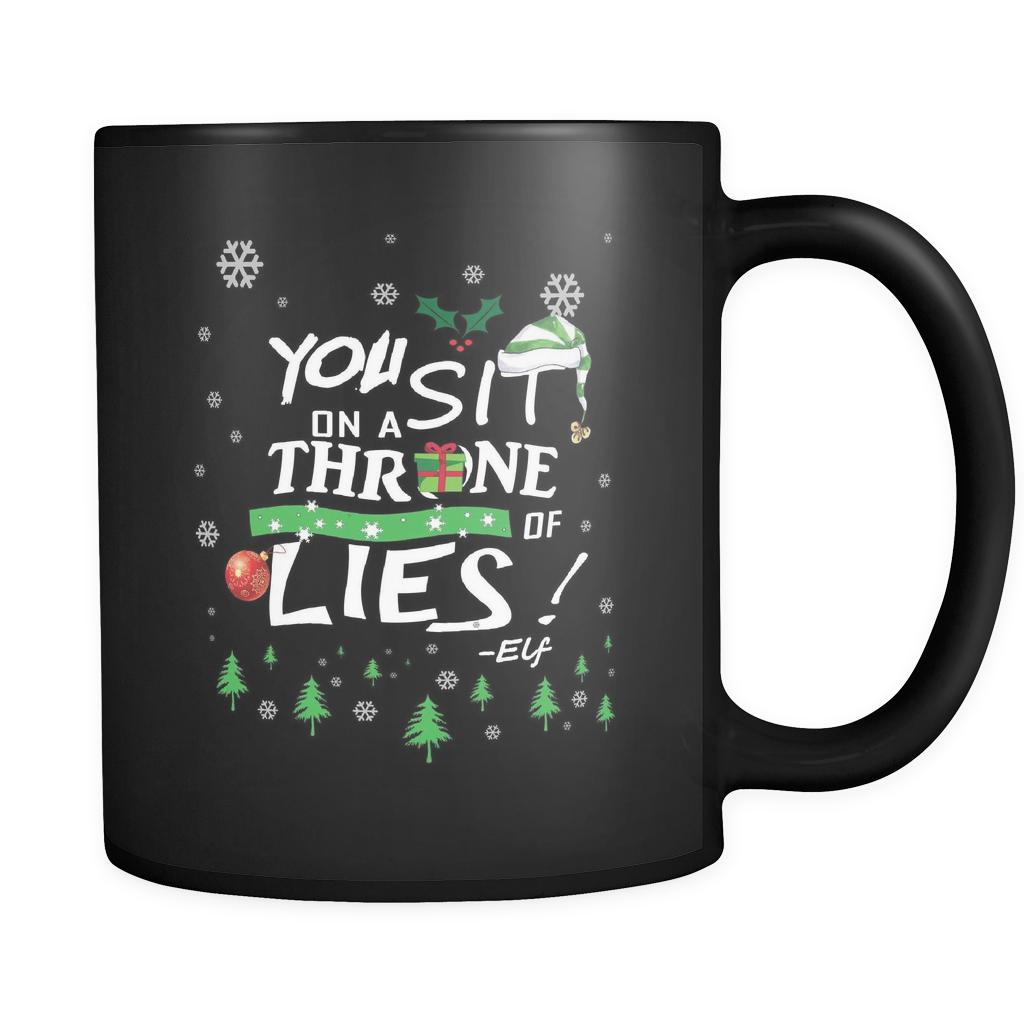 You Sit On A Throne Of Lies Buddy The Elf Funny Ugly Christmas Sweater Black 11oz Coffee Mug-Drinkware-Ugly Christmas Sweater Black 11oz Coffee Mug-JoyHip.Com