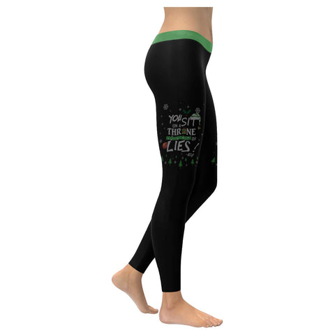 You Sit On Throne Of Lies Buddy The Elf Funny Gift Ugly Christmas Women Leggings-XXS-Black-JoyHip.Com