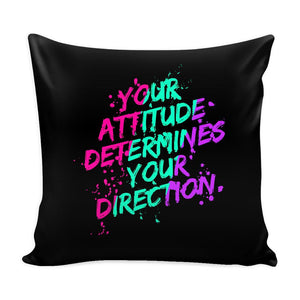 Your Attitude Determines Your Direction Inspirational Motivational Quotes Decorative Throw Pillow Cases Cover(9 Colors)-Pillows-Black-JoyHip.Com