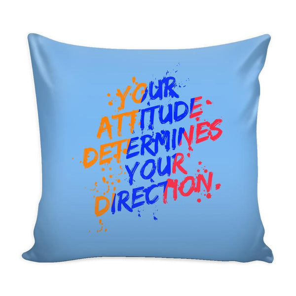 Your Attitude Determines Your Direction Inspirational Motivational Quotes Decorative Throw Pillow Cases Cover(9 Colors)-Pillows-Blue-JoyHip.Com