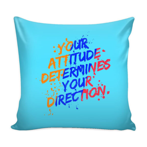 Your Attitude Determines Your Direction Inspirational Motivational Quotes Decorative Throw Pillow Cases Cover(9 Colors)-Pillows-Cyan-JoyHip.Com