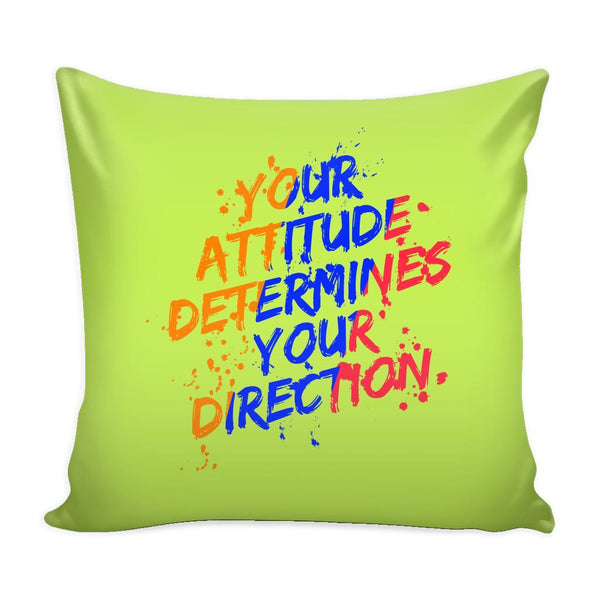 Your Attitude Determines Your Direction Inspirational Motivational Quotes Decorative Throw Pillow Cases Cover(9 Colors)-Pillows-Green-JoyHip.Com