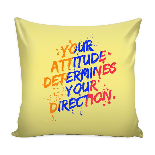 Your Attitude Determines Your Direction Inspirational Motivational Quotes Decorative Throw Pillow Cases Cover(9 Colors)-Pillows-Yellow-JoyHip.Com