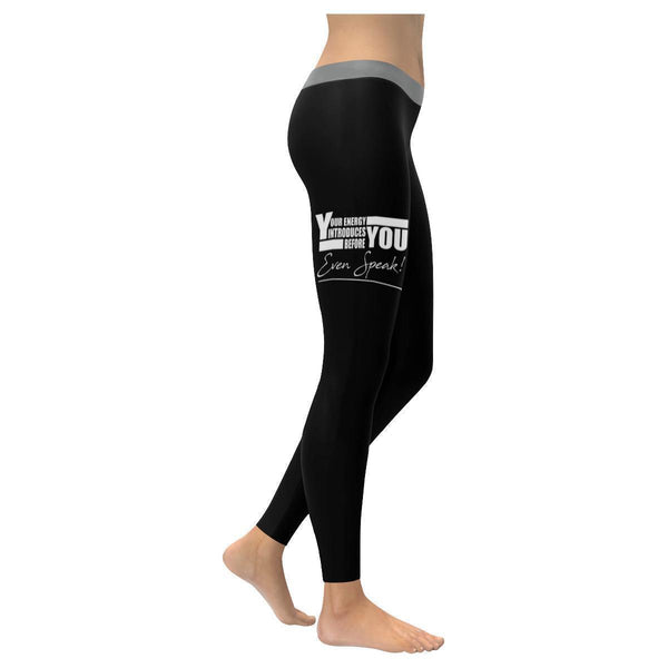 Your Energy Introduces You Before Even Speak Motivational Quotes Womens Leggings-XXS-Black-JoyHip.Com