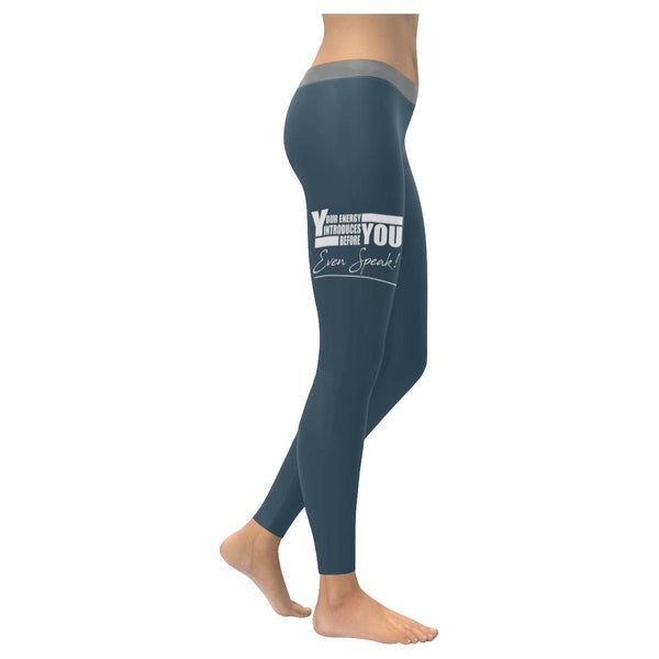 Your Energy Introduces You Before Even Speak Motivational Quotes Womens Leggings-XXS-Grey-JoyHip.Com