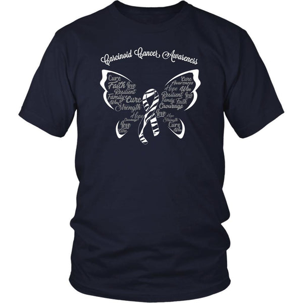 Zebra Stripe Ribbon Butterfly Carcinoid Cancer Awareness Cool Gift Ideas TShirt-T-shirt-District Unisex Shirt-Navy-JoyHip.Com