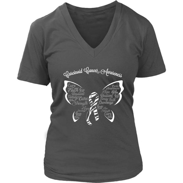 Zebra Stripe Ribbon Butterfly Carcinoid Cancer Awareness Cool Gift VNeck TShirt-T-shirt-District Womens V-Neck-Grey-JoyHip.Com