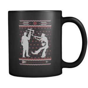 Zombie Ugly Christmas Sweater Black 11oz Coffee Mug-Drinkware-Ugly Christmas Sweater Black 11oz Coffee Mug-JoyHip.Com