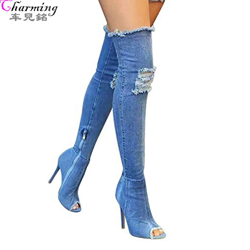 2017 Hot Women Boots summer autumn peep toe Over The Knee Boots quality High elastic jeans fashion boots high heels plus size