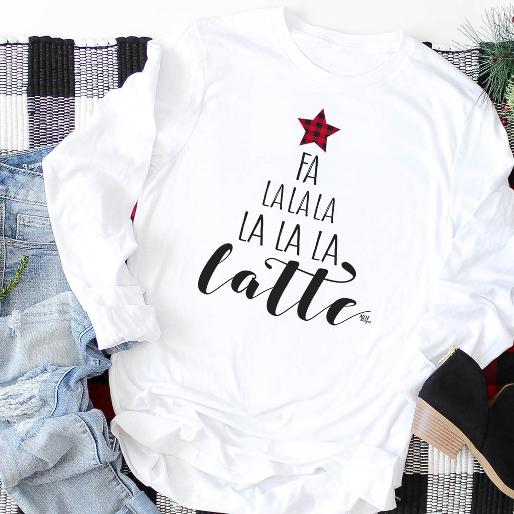 FA LA LA LA LATTE Christmas Tree Comfort Colors White Long Sleeve Tee