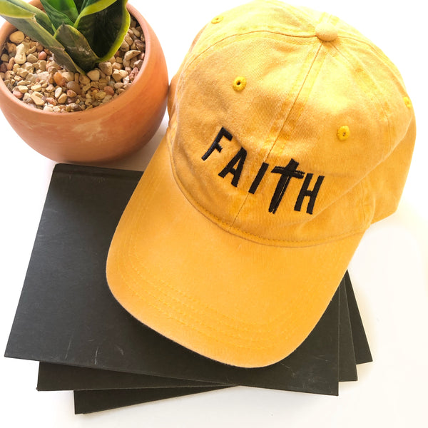 FaiTh Baseball Hat - Mustard