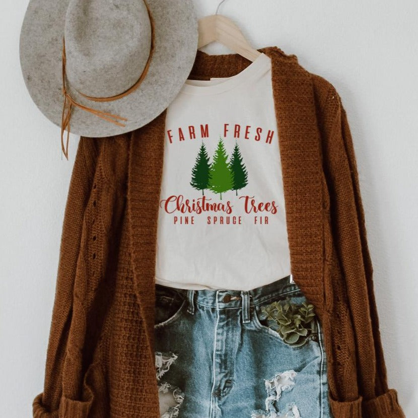 Farm Fresh Christmas Trees Ivory Comfort Colors Long Sleeve Tee