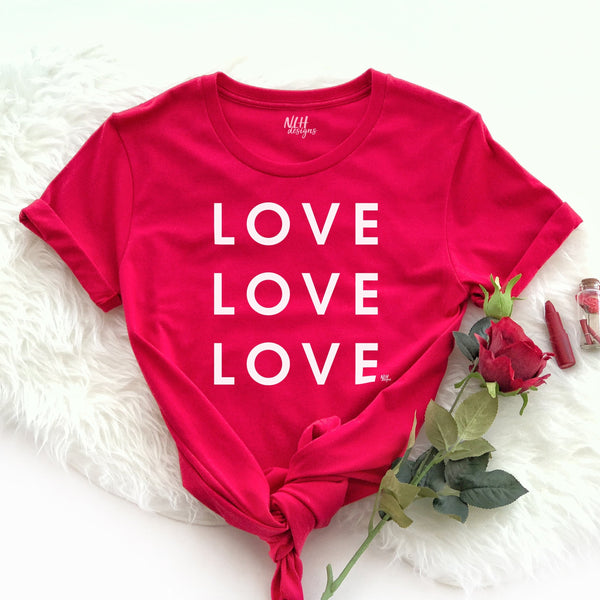LOVE LOVE LOVE Short Sleeve T-Shirt