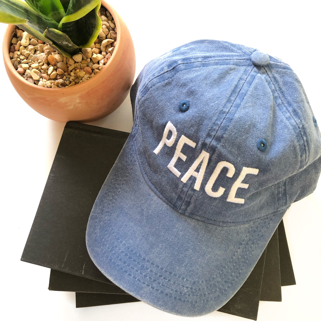 PEACE Baseball Hat - Denim