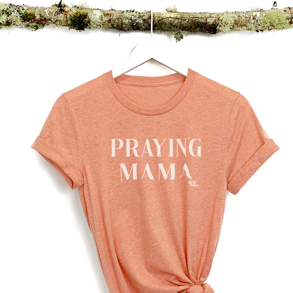 Praying Mama Heather Sunset Short Sleeve T-Shirt