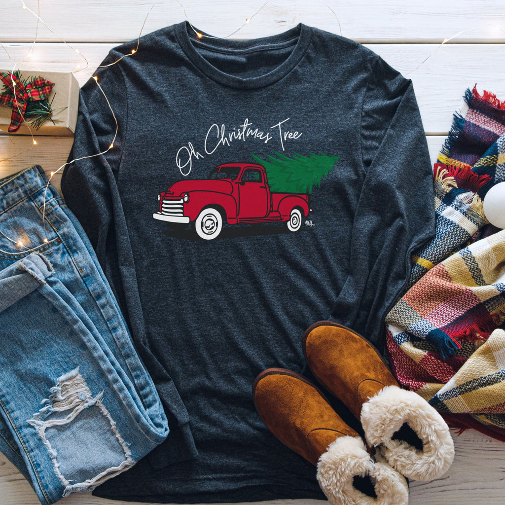 Oh Christmas Tree Truck Long Sleeve T-Shirt