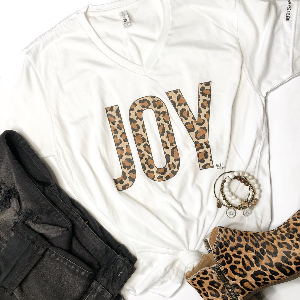 Joy Leopard Animal Print White Short-Sleeve T-Shirt