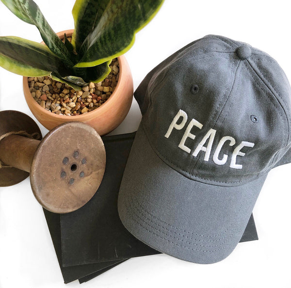 PEACE Baseball Hat - Gray